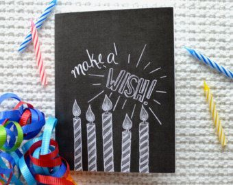 Chalkboard Birthday Card Chalkboard Art Chalk by Sugarbirdprints