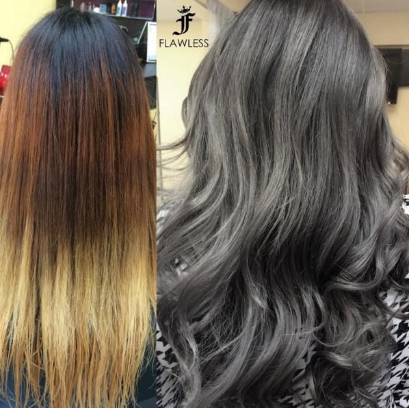 Marie Negron lifted her client to a level 9 and toned using #KenraColor 8SM and 8VM. #MetallicObsession