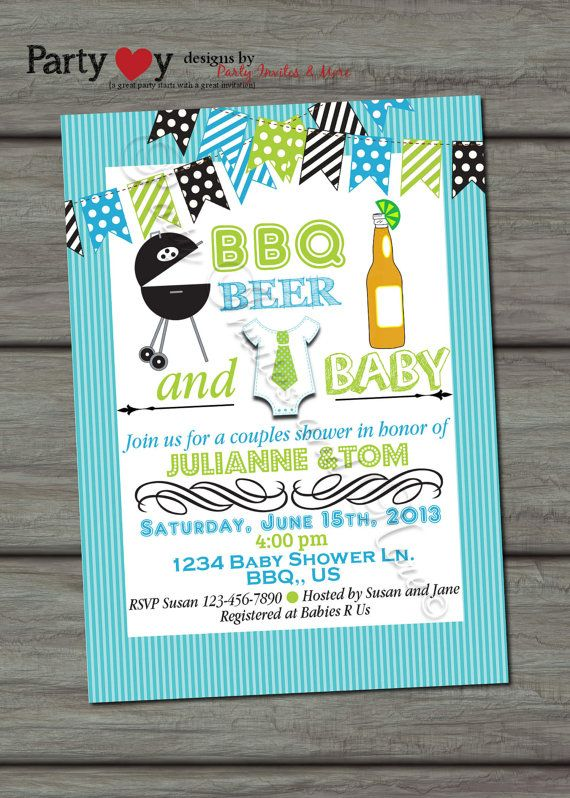 Beer BBQ and Baby Joint Baby Shower Boy - Digital Print File on Etsy, $8.00