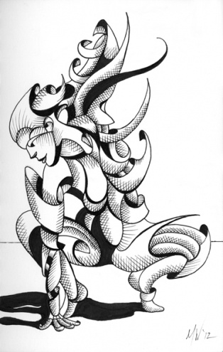 Mark Webster - Lexi - Abstract Geometric Futurist Figurative Ink Drawing, painting by artist Mark Adam Webster