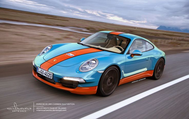 Porsche 911 (991)Carrera Gulf Edition. Yeah, so the old man left Porsche and got a Tesla. It's grounds for a legal hearing on mental capacity! Sorry Dad.