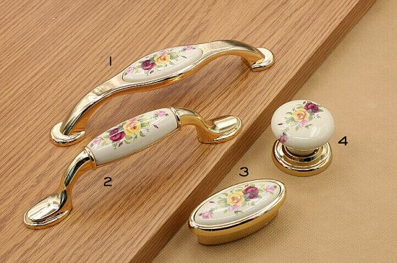 5 3.75 1.25 Gold Drawer Pull Handles Knobs Porcelain by jade4wood
