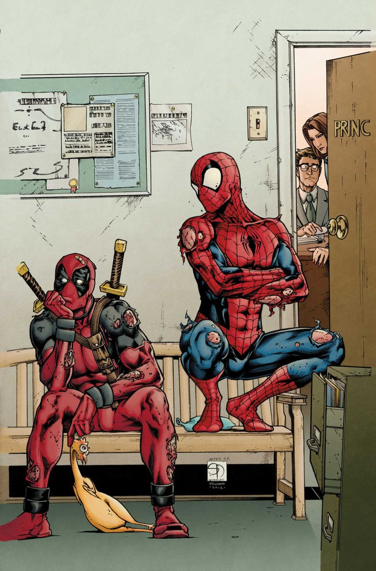 In upcoming Avenging Spider-Man comic series, Spider-Man and Deadpool team up and go back to high school where they will obviously wreak havoc. Here's a great piece of art from the series, showing the two characters waiting to see the principal after getting into a fight.