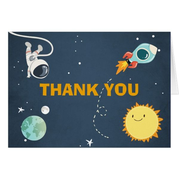 outer space thank you card rocket astronaut