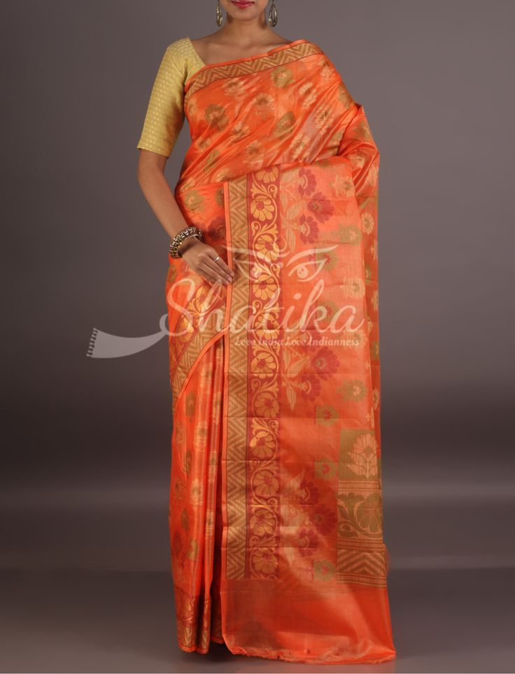 Payal Bloom Of Flowers Bel Border Elegant Pure Tussar Silk Saree