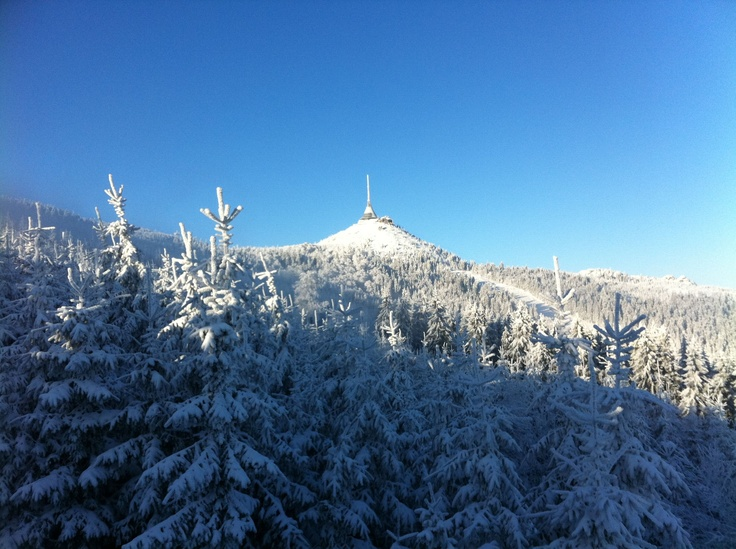 Skiing in Mount Jested, Czech Republic.  My husband took this photo in Dec. 2010.