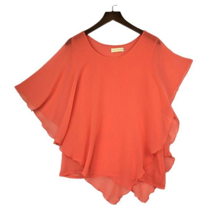 Plus size S-6XL Ladies Chiffon Blouses Batwing Asymmetric Sleeves Orange Shirt #Unbranded #Blouse #Casual