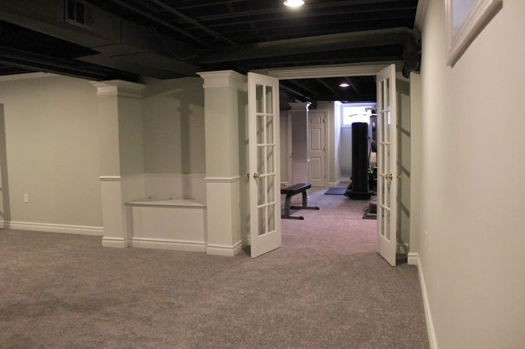 Basement Remodel With Painted Exposed Ceiling....carpet