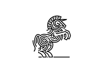 "Unicorn monoline logo by ""brandosaur,"" head designer of Brandosaur studio based by Konstantin Golovachyov, via Dribble."