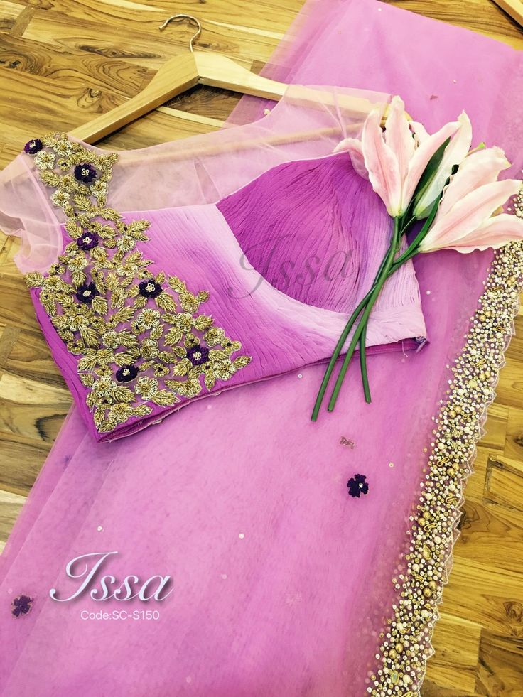SC-S150: Lavender and purple shaded net with patterned blouse and hand embroidery.We can customize the colour   size as per your requirement.To order please call/ WhatsApp on 9949944178 or mail us @issadesignerstudio@gmail.com  30 November 2016