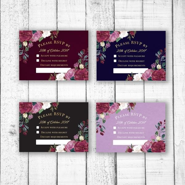 The red rose a classic symbol of romance and love. This lush RSVP card design is customised with your wedding details.  size  A6 105 x 148mm (Recommended size for RSVP) OR   A5 148 x 210mm  colours & fonts   Most colours and all fonts can be changed upon request to achieve a truly personal RSVP card for your special day.