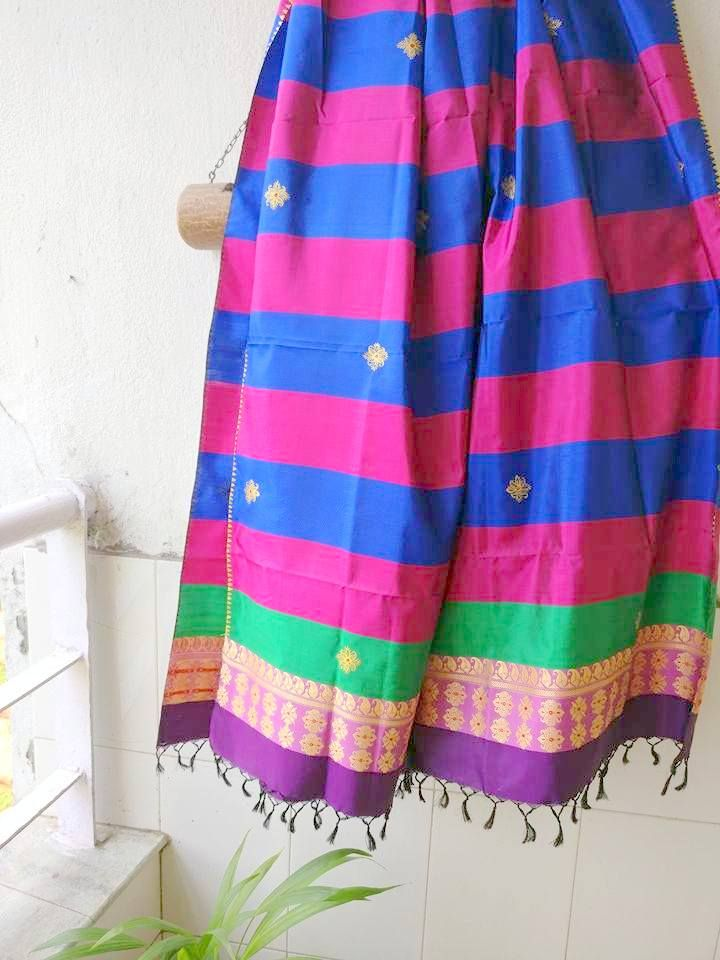 Pure hand loom silk Dupatta with baluchari weave and hand painted motifs (www.miharu.in)