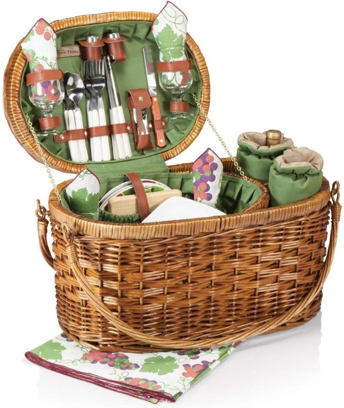 Deluxe Wine/Picnic Basket with Service for Four