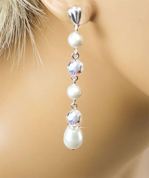 Pearl Bridal Earrings White Swarovski Pearl by PixieDustFineries