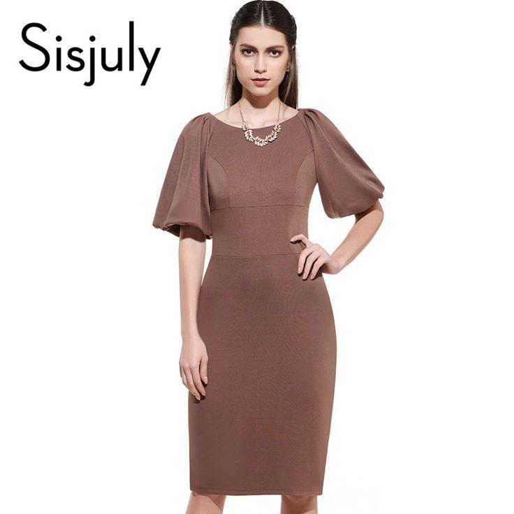 Sisjuly Summer Sheath Dress Bodycon Women Lantern Sleeve Knee-Length Dresses Sheath Dress