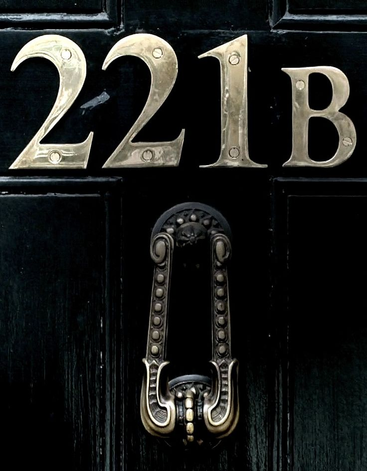 221.B.  The knocker's straight. Mycroft must be there. <-- literally though exactly the same thing