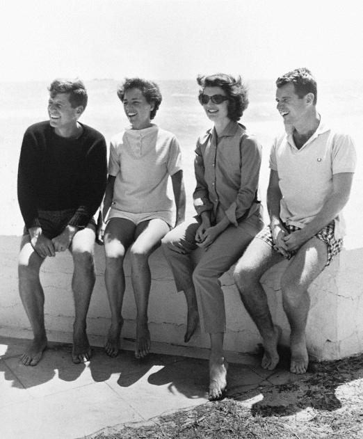 John F. Kennedy, Ethel Kennedy, Jackie Kennedy, and Robert Kennedy at the beach.