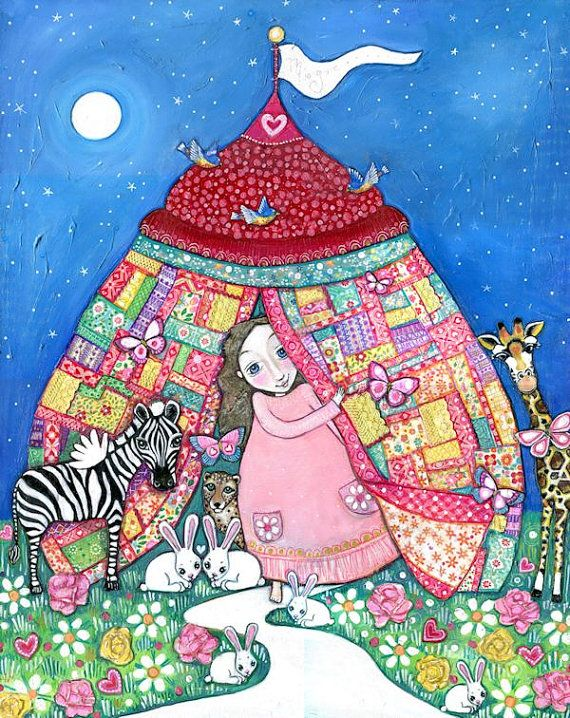 Girls room art circus patchwork quilt tent rabbits zebra giraffe cheetah nursery wall decor whimsical folk art childrens picture fairy tale