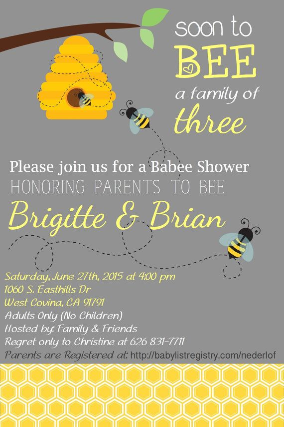 Parents to BEE Baby Shower Invites by CreationByCB on Etsy