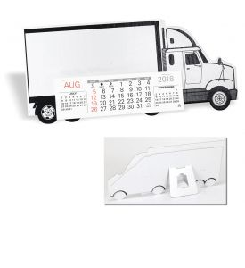 Product: 7D207 Desktop Truck Calendar, Semi Truck Basic custom imprint setup & PDF proof included! Make your trucking company stand out from the fleet with this die cut Semi Truck cardboard desk calendar. Perfect promotional calendar for freight & trucking companies. Warwick / 424