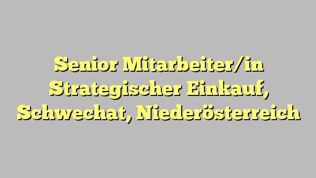 Senior Mitarbeiter/in Strategischer Einkauf, Schwechat, Niederösterreich