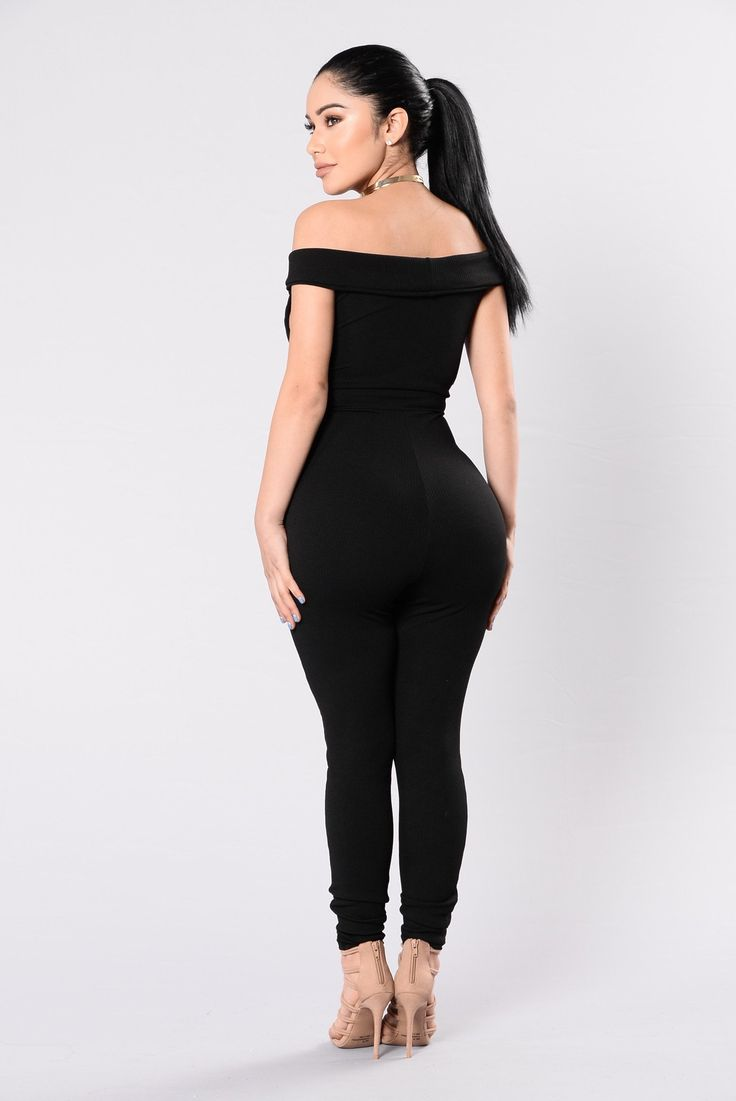 Available in Black & Marsala Ribbed Jumpsuit Off Shoulder V Neckline Fitted Made in USA 95% Polyester 5% Spandex