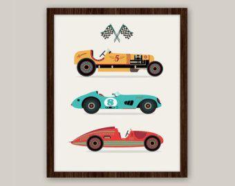 Racing Cars - transports pépinière Art d'impression 11 x 14 - transport pépinière Art impression, chambre bébé décoration, Art de pépinière, enfants imprimer