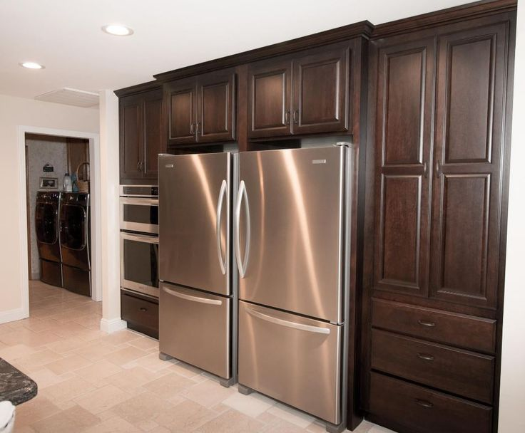 50 best images about cherry kitchens on pinterest for Chocolate kitchen cabinets with stainless steel appliances