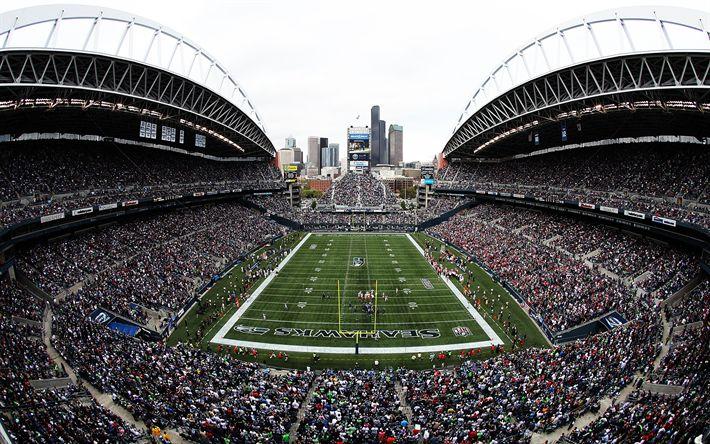 Download wallpapers CenturyLink Field, 4K, American Football, Stadium, NFL, USA, seattle seahawks stadium, Seattle, Washington, United States
