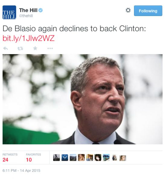 OUCH! NYC Mayor And Former Hillary Clinton Campaign Manager De Blasio Refuses To Back Her . . . AGAIN… 4/15/15
