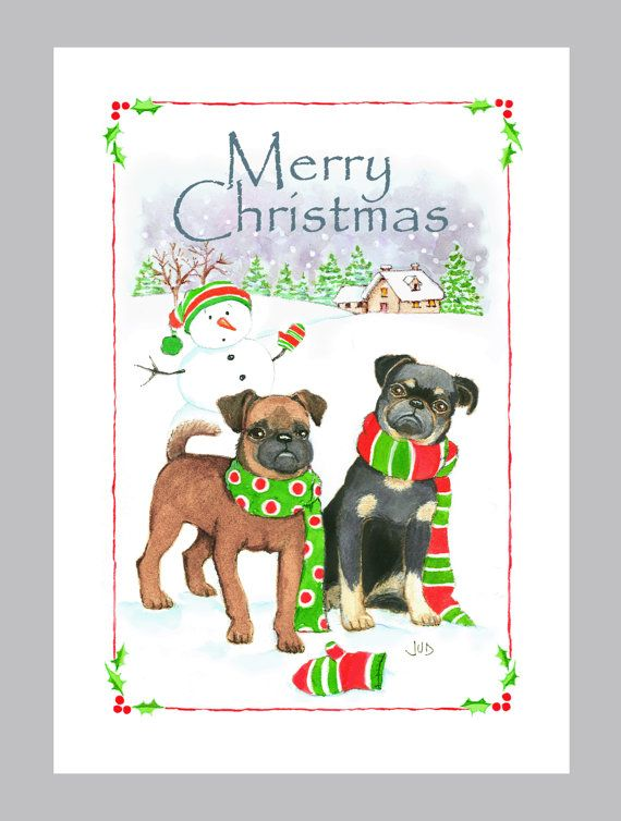 Two Brussels Griffons Christmas Card