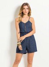 O Macaquinho feminino Jeans Quintess apresenta alças finas e é produzido em jeans de alta qualidade.  http://modacor.net/macaquinho-jeans-feminino-quintess-com-alcas-finas/