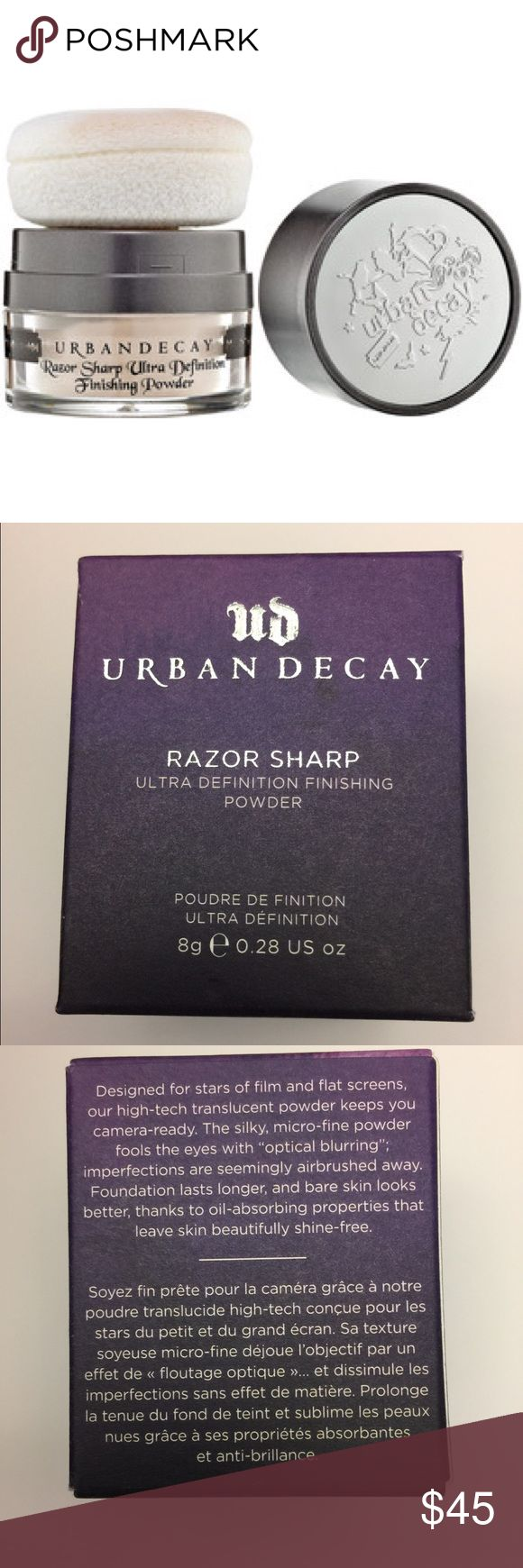 Urban decay razor sharp ultra definition powder Discontinued. Urban decay razor sharp ultra definition finishing powder 8g/0.28oz. NIP never opened or tested. The concept of this loose powder is to provide a stunning, soft-focus effect, even under bright and unforgiving light. It does that and more thanks to its super-fine texture and translucent color. This powder has an unusually slippery texture, but it adheres well to skin and leaves a soft, non-powdery matte finish that feels weightless…