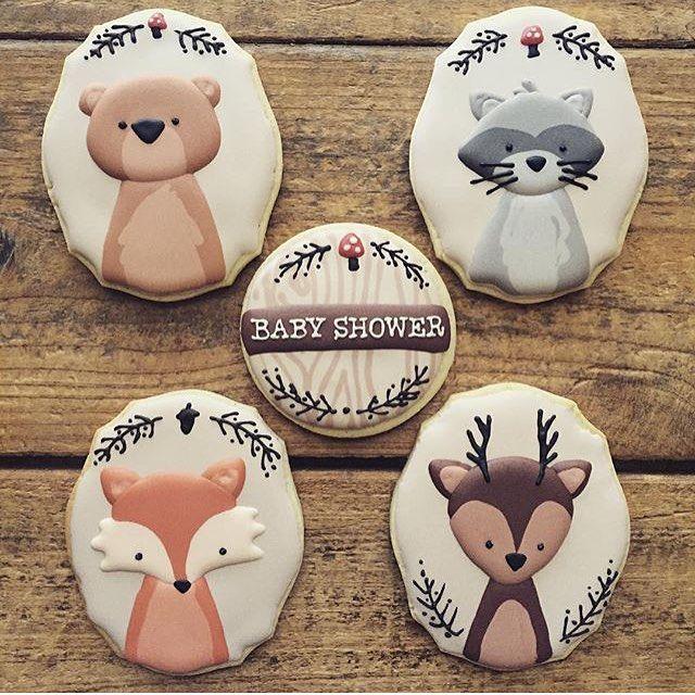 Olha que lindo esses cookies de bichinhos da floresta para chá de bebê, adoro esse tema! Por @cookiecowgirl #regram @augurifestas 🌳🐺🐨🌳 #kikidsparty