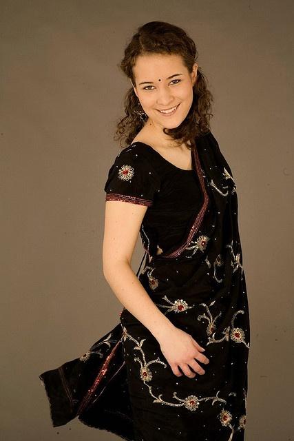 Beautiful white woman in saree