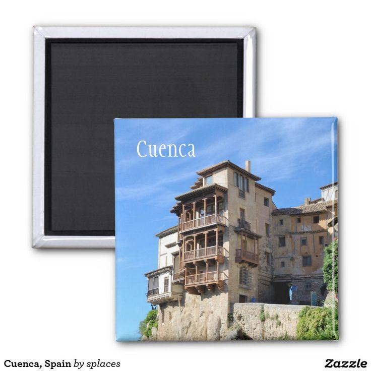 The Casas Colgadas (Hanging Houses), also known as Casas Voladas, Casas del Rey. Color photo. Images of Spain collection. 2 Inch Square Magnet