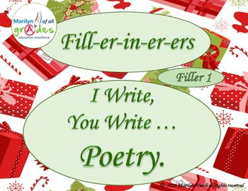This is another of my Fill-er-in-er-ers. There are 10 pages of Christmas poetry; Snowman Poetry Christmas Song Writing  Christmas Cinquain Poetry  Phone Number Poetry  Personification  The Miracle of Christmas and questions  Rhyme  Wishing Poetry This Fill-er-in-er-er