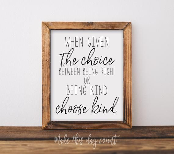Be Kind Print Choose Kind Inspirational Playroom Quote