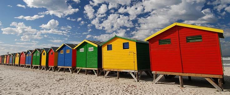 Muizenberg Beach Huts, Cape Town.