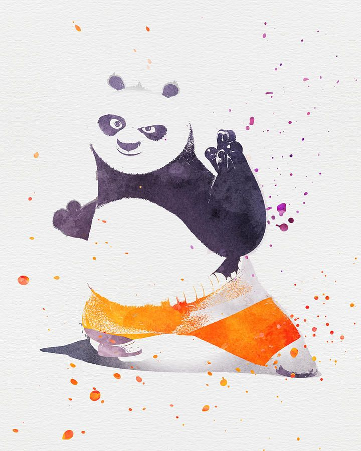 kung fu panda print, watercolor art, disney print, nursery room decor, printable decor, kids room gift, wall decor