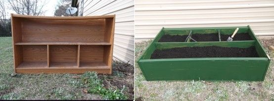 Old bookcase ... flop it onto it's back in the yard ... fill with garden soil and ta da, a self-contained garden! (though I doubt I'd ever have an unused old bookcase lying around . . . this would be a cheap way to do some raised beds)