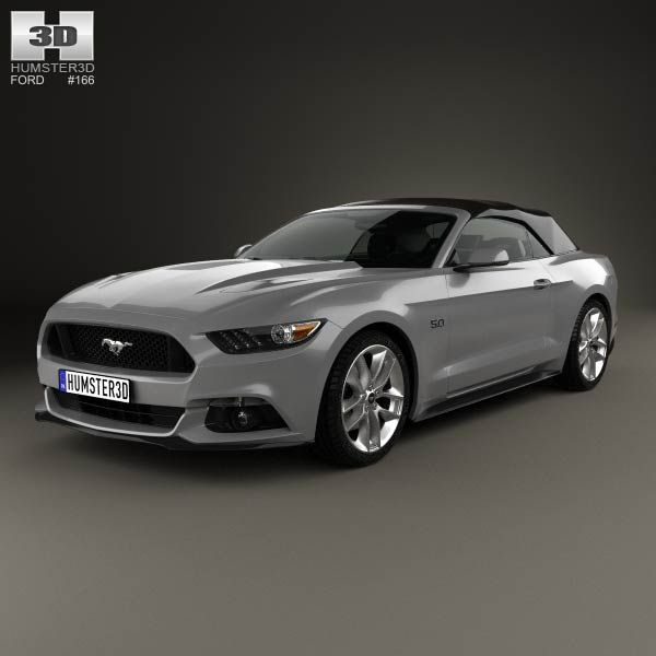 ford mustang convertible 2015 3d model - 2015 Ford Mustang Black Convertible