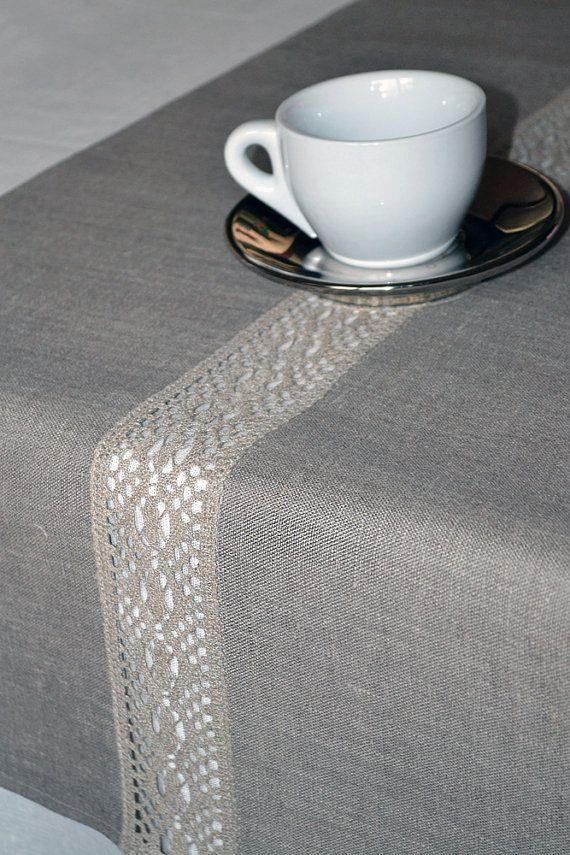 Lacey Natural Organic Linen Gray Table Runner 16 by LinenLifeIdeas, $49.00