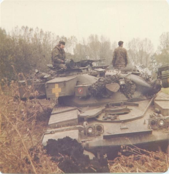 Chieftain tank of 14th / 20th King's Royal Hussars on exercise, British Army of the Rhine, 1980.