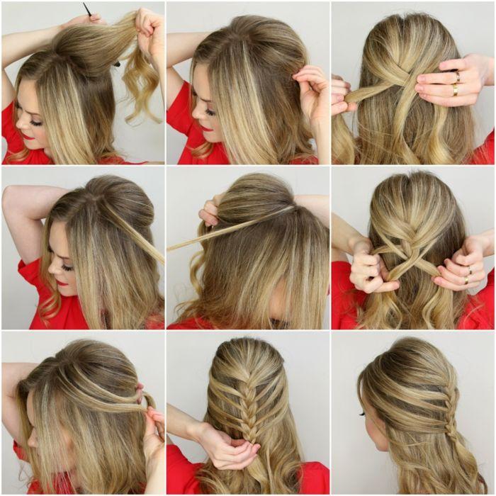 Flechtfrisur selber machen, Schritt-für-Schritt Anleitung, Frisur für lange und mittellange Haare