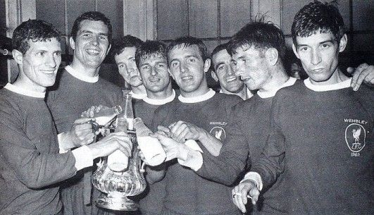 Liverpool's first ever FA Cup win in 1965, celebrating with milk.