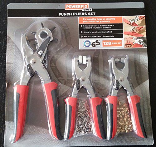 Professional Quality Punch Pliers Set With Press Studs, Grommets, 128 Piece Set (Revolving punch pliers, Eyelet punch pliers, Press stud pliers, 100 eyelets and 25 press studs) Suitable for Various Materials (Cardboard, felt, leather and fabric) Powerfix http://www.amazon.co.uk/dp/B00KV1ULAC/ref=cm_sw_r_pi_dp_TlPpwb0T75PHZ