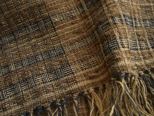 handwoven fabric    hand spun nettle(from Nepal) , wild silk yarn  dyed with onion skin, Ryukyu-indigo(Strobilanthes cusia)  by cocoon_oharu (Harue Nishigawa) via Flickr
