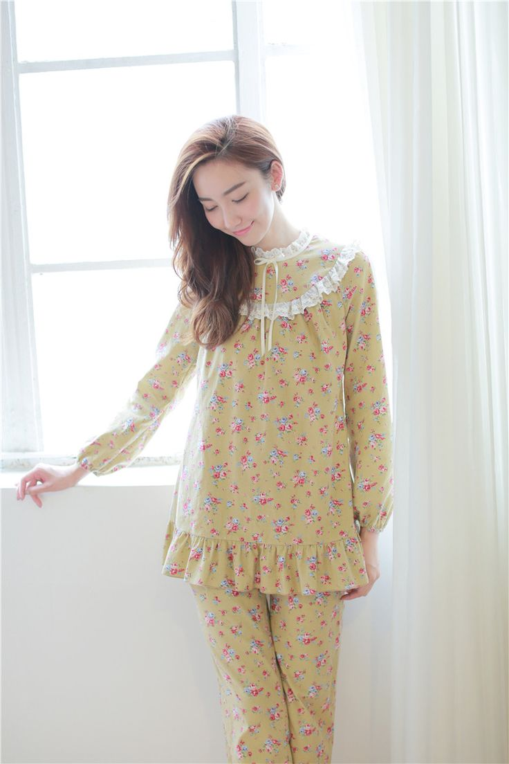 FLoral Lovely Pajamas Night Suit Women Spring Fall
