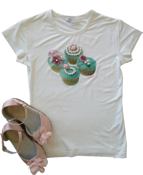 Miss Grant Ivory Cupcake Tee Shirt paired with cute pink shoes from Joyfolie